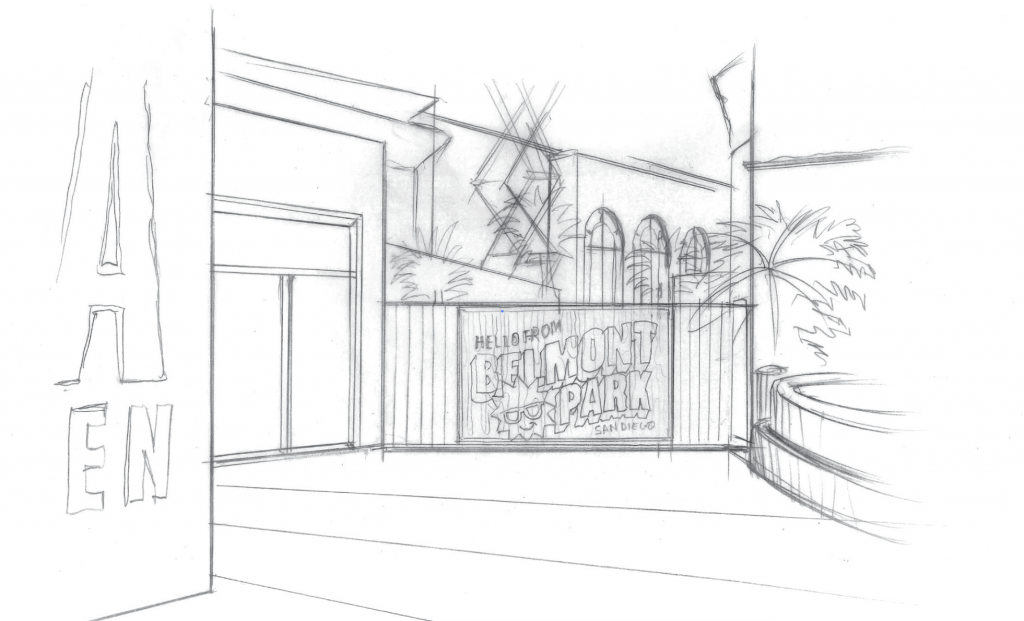 Belmont Park Banner Concept Sketch